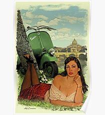 Vespa Pin Up Girl Poster