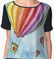 Rainbow Heart Hot Air Balloon Chiffon Top