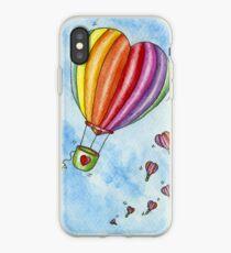 Rainbow Heart Hot Air Balloon iPhone Case