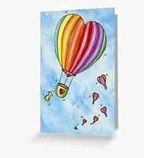 Rainbow Heart Hot Air Balloon Greeting Card