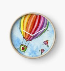 Rainbow Heart Hot Air Balloon Clock