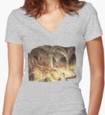 Bilbo and Smaug the Dragon Women's Fitted V-Neck T-Shirt