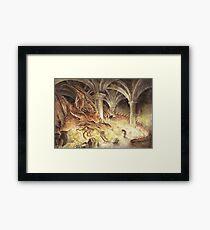 Bilbo and Smaug the Dragon Framed Print
