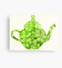 Botanical Clover Teapot Metal Print