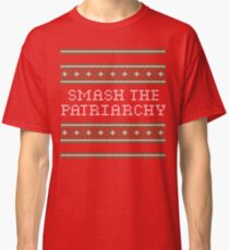 Smash The Patriarchy Christmas Sweater Cross Stitch Classic T-Shirt