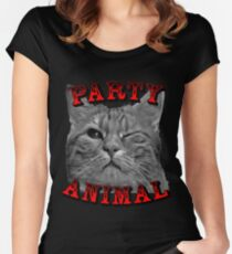 Party Animal Cat Women's Fitted Scoop T-Shirt