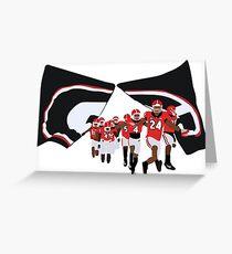UGA Players Running Through Flag Greeting Card