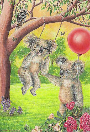 Koala on Swings by Pete Morris