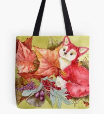 Fancy Fall Fox & Leaves Tote Bag