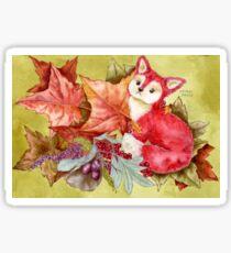 Fancy Fall Fox & Leaves Sticker