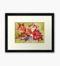 Fancy Fall Fox & Leaves Framed Print
