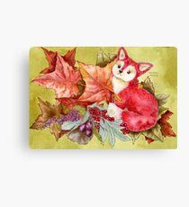 Fancy Fall Fox & Leaves Canvas Print