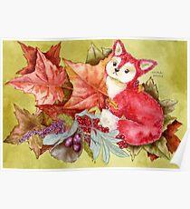 Fancy Fall Fox & Leaves Poster