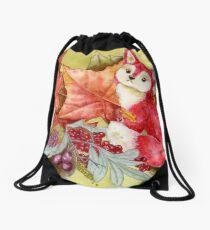 Fancy Fall Fox & Leaves Drawstring Bag