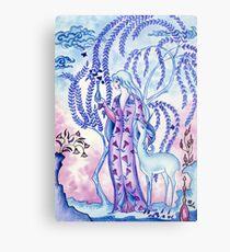 Lady & Last Unicorn Metal Print