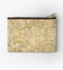 'Peonies' by Alphonse Mucha (Reproduction) Zipper Pouch