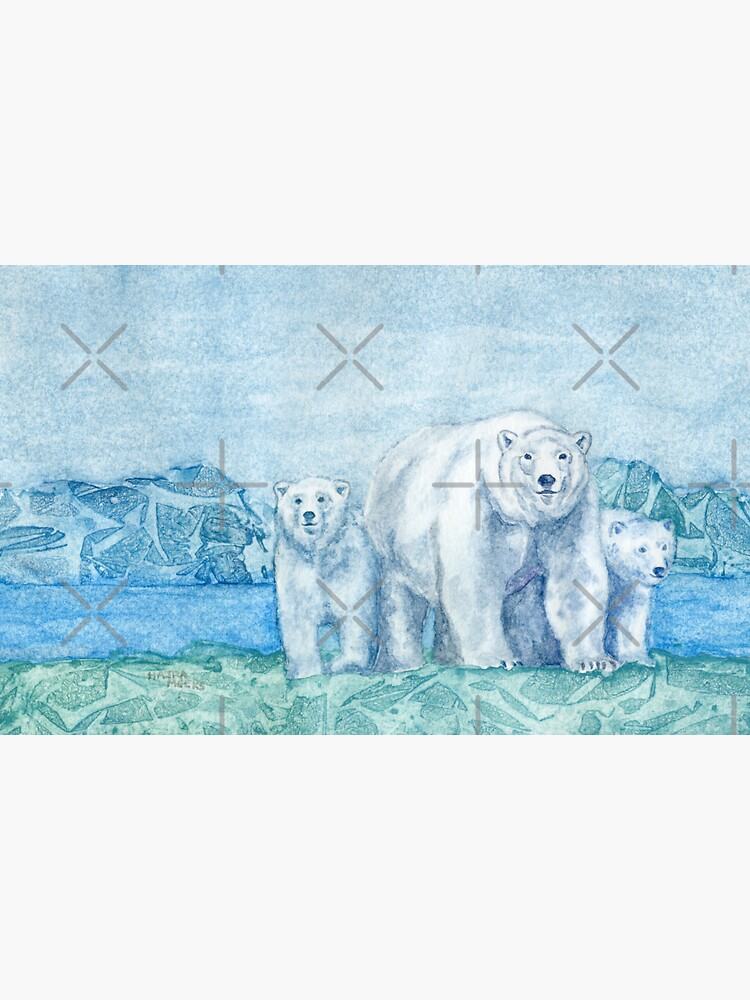 Polar Bear Family Painting by HajraMeeks