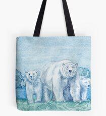 Polar Bear Family Painting Tote Bag