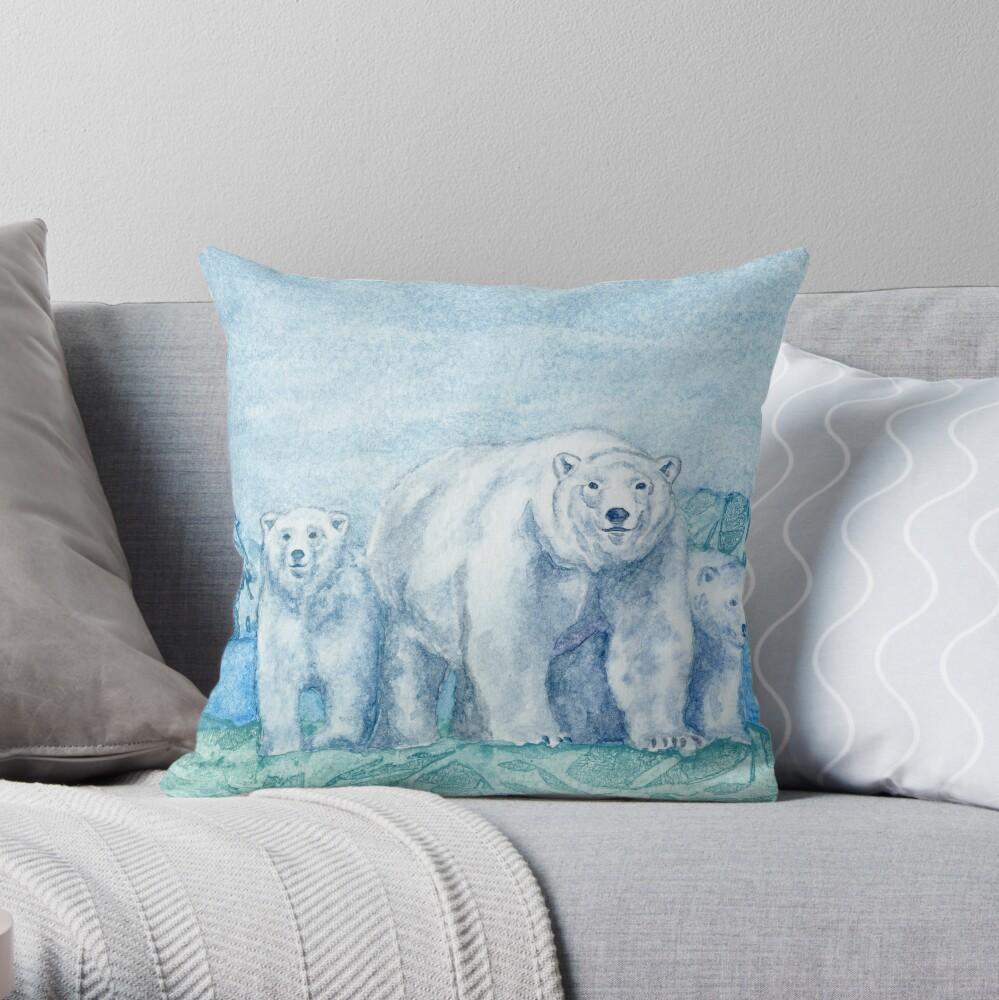 Polar Bear Family Painting Throw Pillow
