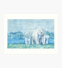 Polar Bear Family Painting Art Print