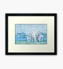 Polar Bear Family Painting Framed Print