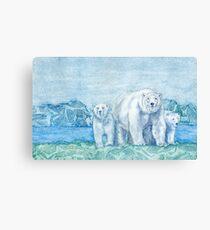 Polar Bear Family Painting Canvas Print