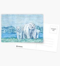 Polar Bear Family Painting Postcards