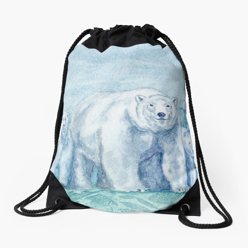 Polar Bear Family Painting Drawstring Bag