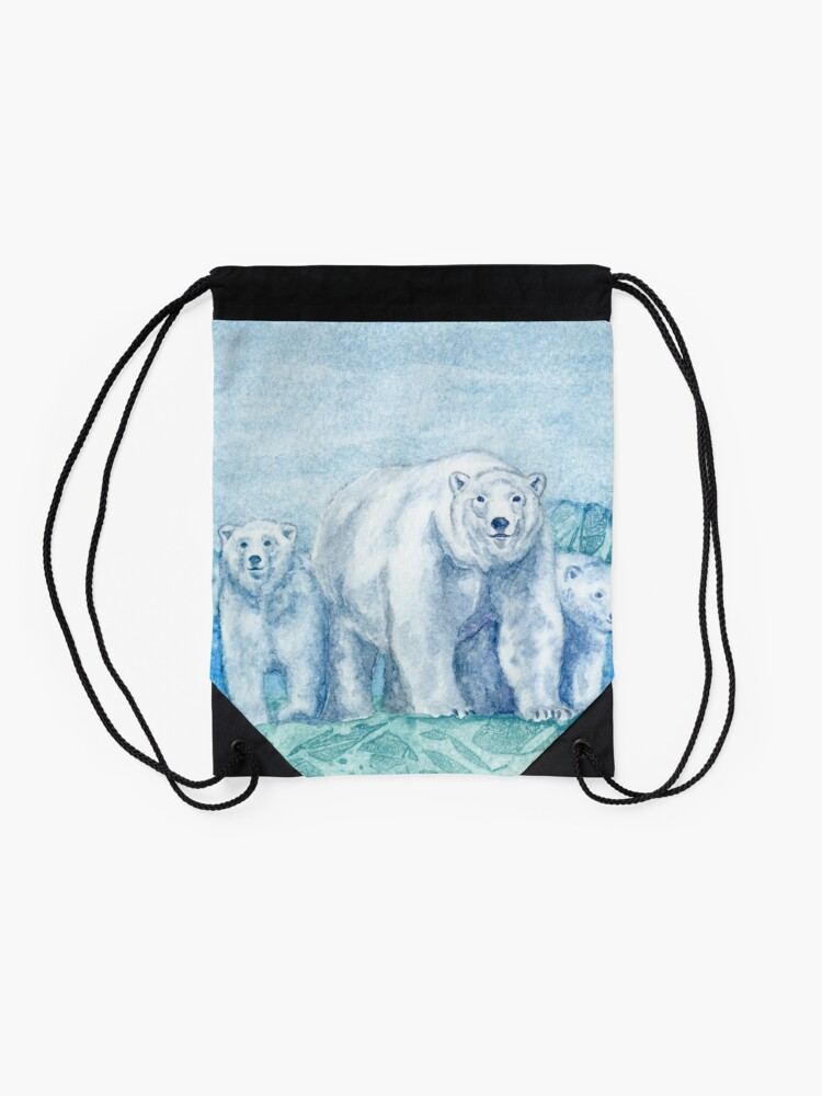 Alternate view of Polar Bear Family Painting Drawstring Bag