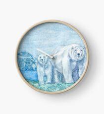 Polar Bear Family Painting Clock