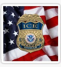 U.S. Immigration and Customs Enforcement  - ICE Officer Badge over American Flag Sticker