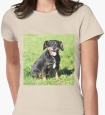 Small black happy dog Women's Fitted T-Shirt
