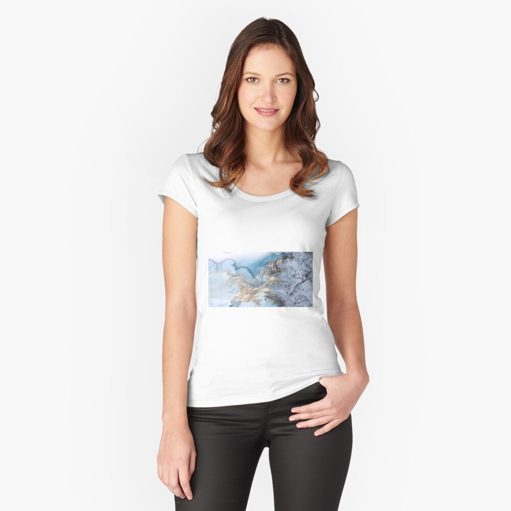 Blau und Gold Marmor Tailliertes Rundhals-Shirt