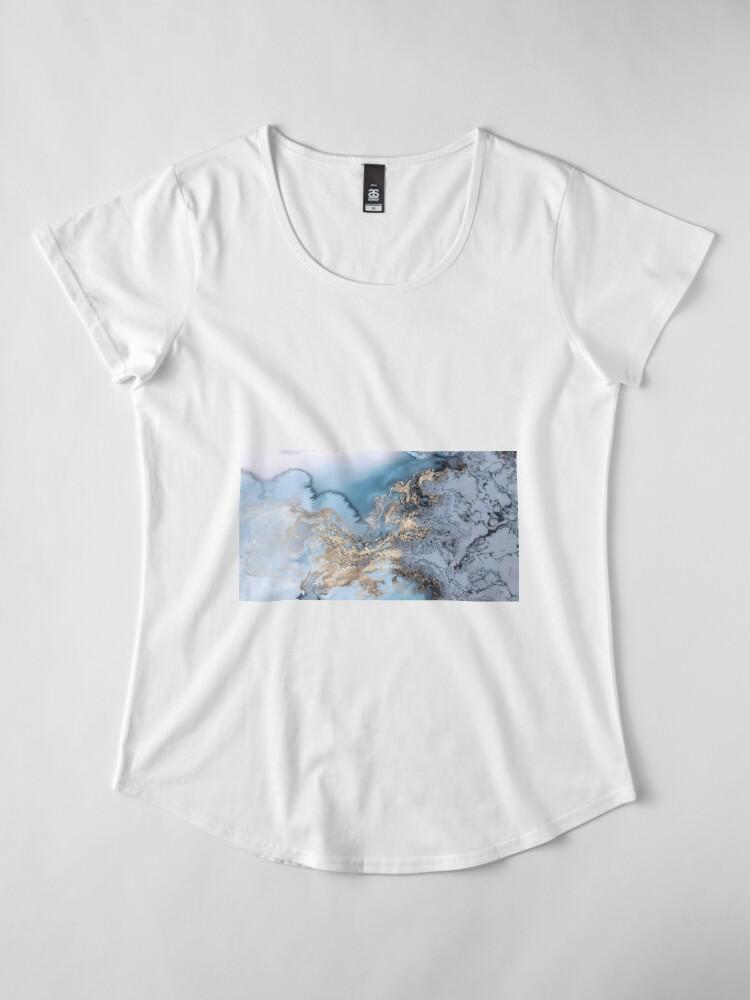 Alternative Ansicht von Blau und Gold Marmor Premium Rundhals-Shirt