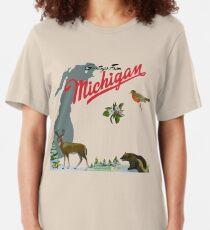 Greetings From Michigan! Slim Fit T-Shirt