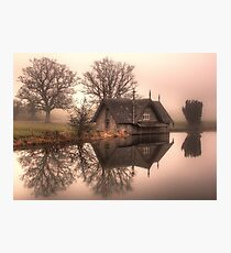 A Foggy Morning At The Boathouse On The Lake  Photographic Print