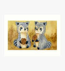 Silly Raccoons & Pinecones Art Print