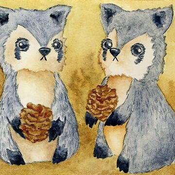 Silly Raccoons & Pinecones by HajraMeeks