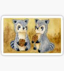 Silly Raccoons & Pinecones Sticker