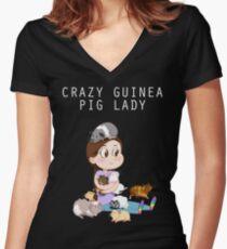 Crazy Guinea Pig Lady (selon mes propres termes) T-shirt col V femme