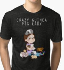 Crazy Guinea Pig Lady (on my own terms) Tri-blend T-Shirt