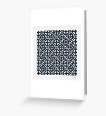 Continuous Flowers Pattern Tessellation in Blue Greeting Card