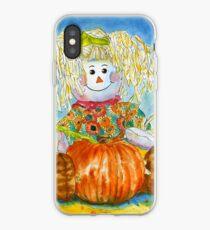 Scarecrow Girl Doll & Pumpkin iPhone Case