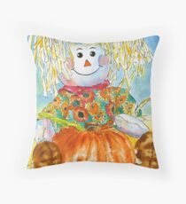 Scarecrow Girl Doll & Pumpkin Throw Pillow