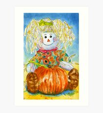 Scarecrow Girl Doll & Pumpkin Art Print