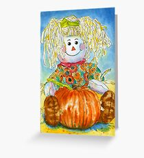 Scarecrow Girl Doll & Pumpkin Greeting Card