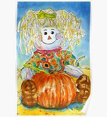 Scarecrow Girl Doll & Pumpkin Poster