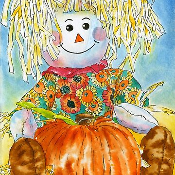 Scarecrow Girl Doll & Pumpkin by HajraMeeks