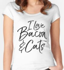 I Love Bacon & Cats Women's Fitted Scoop T-Shirt