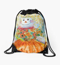 Scarecrow Girl Doll & Pumpkin Drawstring Bag